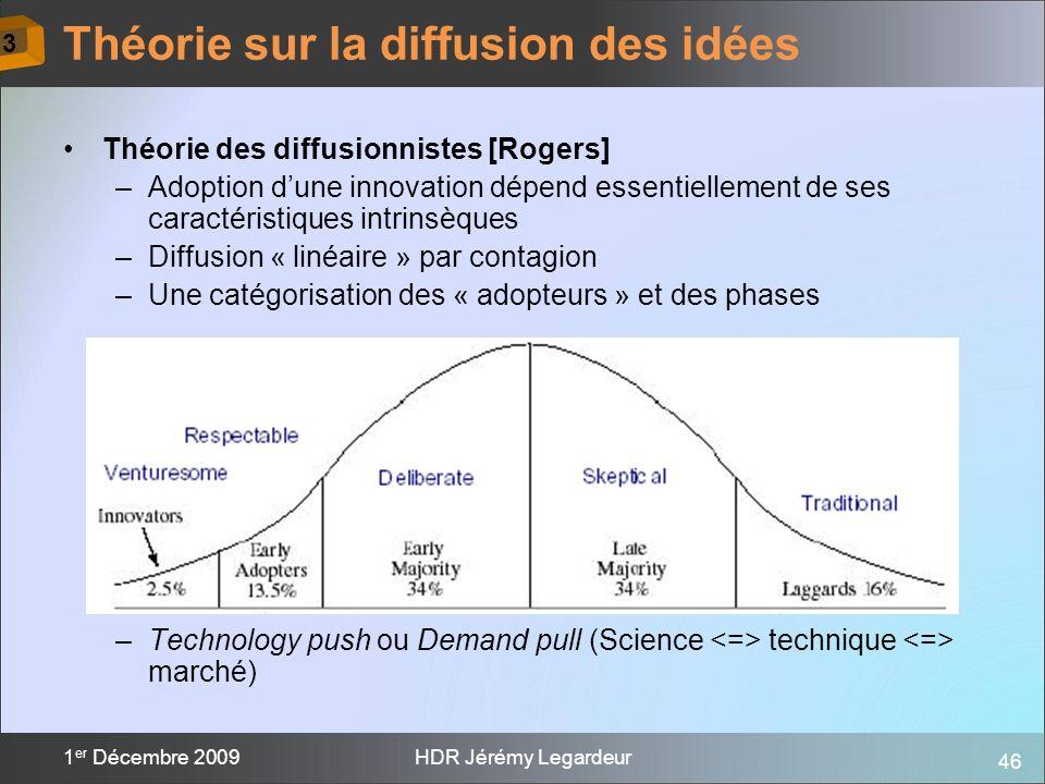 46 1 er Décembre 2009HDR Jérémy Legardeur Théorie des diffusionnistes [Rogers] –Adoption dune innovation dépend essentiellement de ses caractéristique