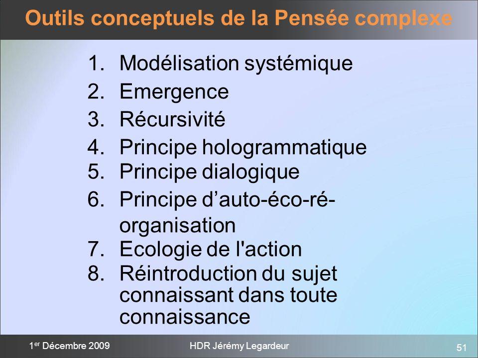 51 1 er Décembre 2009HDR Jérémy Legardeur Outils conceptuels de la Pensée complexe 1.Modélisation systémique 2.Emergence 3.Récursivité 4.Principe holo