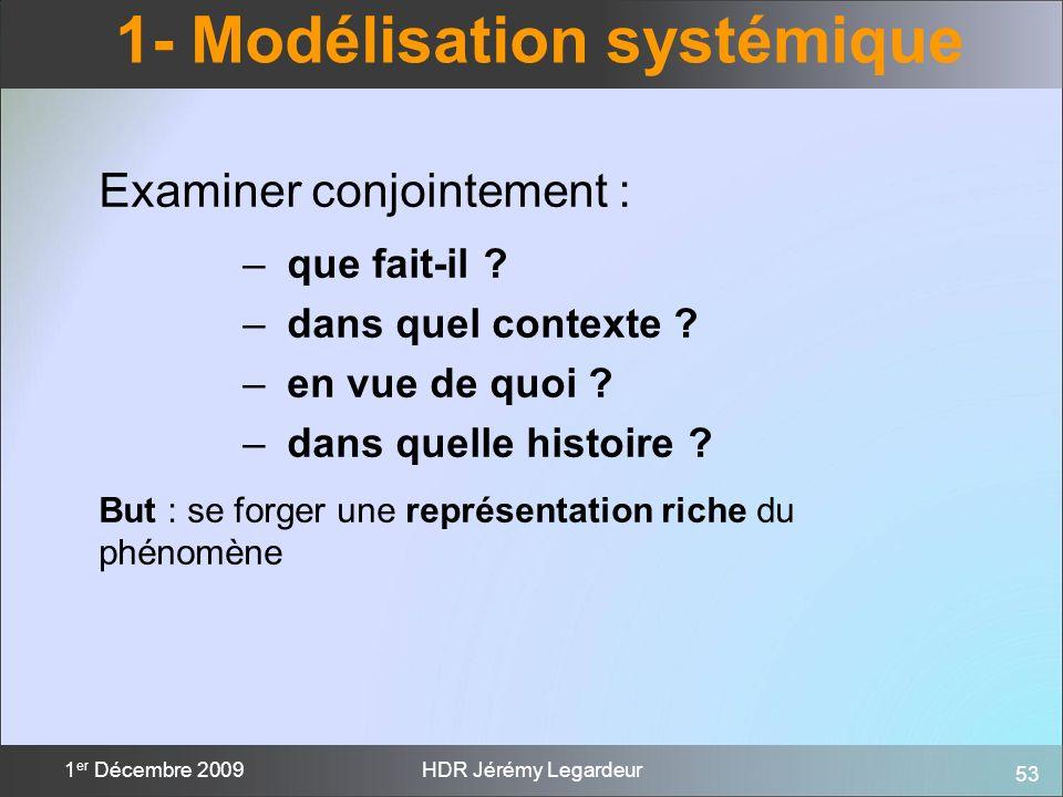 53 1 er Décembre 2009HDR Jérémy Legardeur 1- Modélisation systémique Examiner conjointement : – que fait-il ? – dans quel contexte ? – en vue de quoi