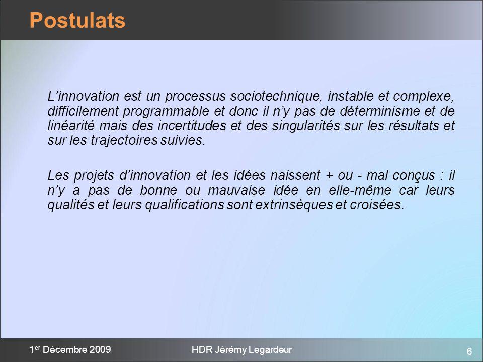 6 1 er Décembre 2009HDR Jérémy Legardeur Linnovation est un processus sociotechnique, instable et complexe, difficilement programmable et donc il ny p