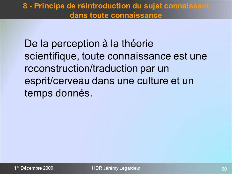 60 1 er Décembre 2009HDR Jérémy Legardeur 8 - Principe de réintroduction du sujet connaissant dans toute connaissance De la perception à la théorie sc