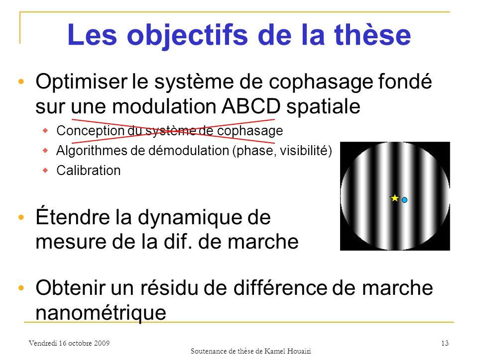 Vendredi 16 octobre 2009 Les objectifs de la thèse Optimiser le système de cophasage fondé sur une modulation ABCD spatiale Conception du système de c
