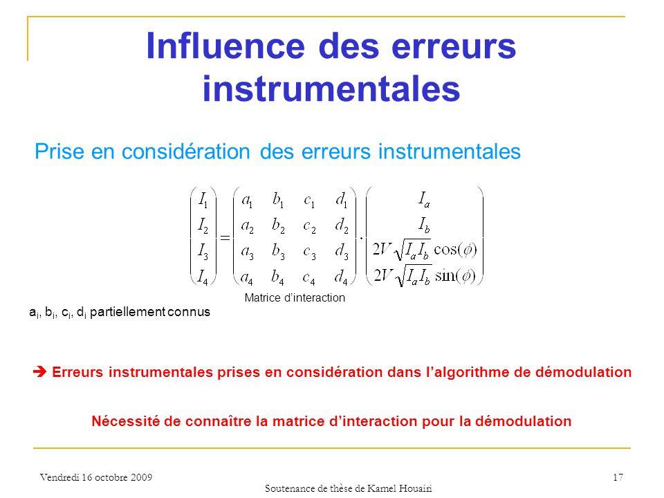 Vendredi 16 octobre 2009 17 Influence des erreurs instrumentales Soutenance de thèse de Kamel Houairi Prise en considération des erreurs instrumentale