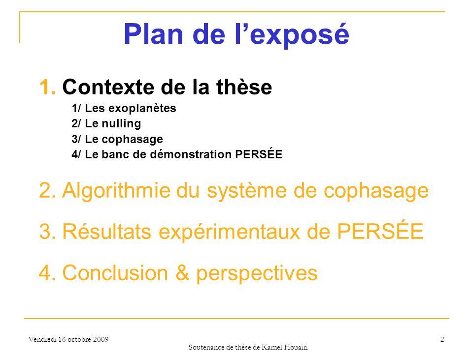 Vendredi 16 octobre 2009 2 Plan de lexposé 1.Contexte de la thèse 1/ Les exoplanètes 2/ Le nulling 3/ Le cophasage 4/ Le banc de démonstration PERSÉE