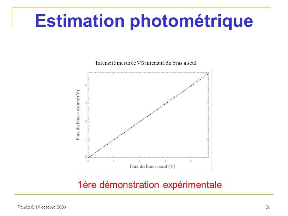 Vendredi 16 octobre 2009 26 Estimation photométrique 1ère démonstration expérimentale Intensité mesurée VS intensité du bras a seul