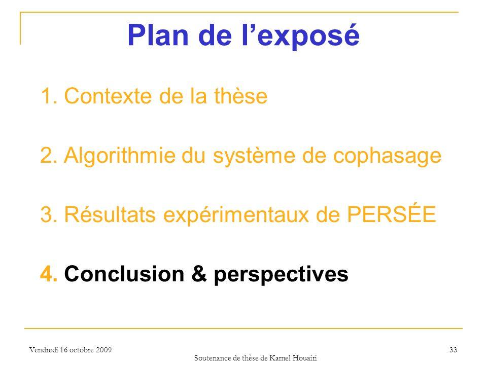 Vendredi 16 octobre 2009 33 Plan de lexposé 1.Contexte de la thèse 2.Algorithmie du système de cophasage 3.Résultats expérimentaux de PERSÉE 4.Conclus