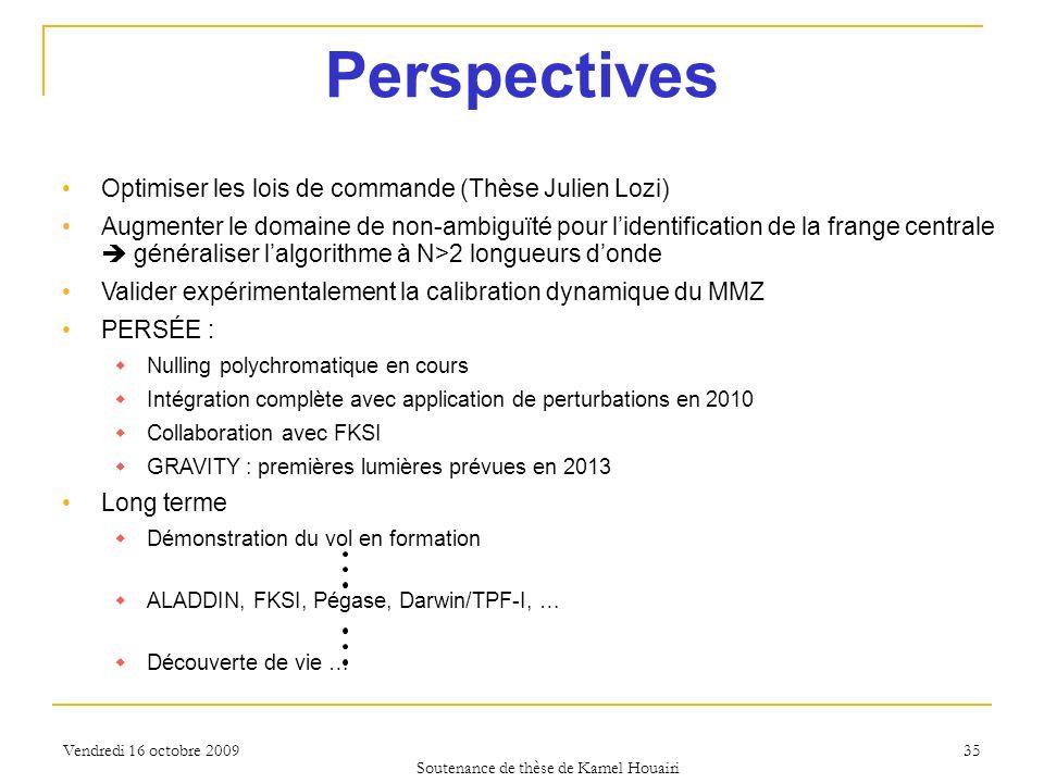 Vendredi 16 octobre 2009 35 Perspectives Optimiser les lois de commande (Thèse Julien Lozi) Augmenter le domaine de non-ambiguïté pour lidentification