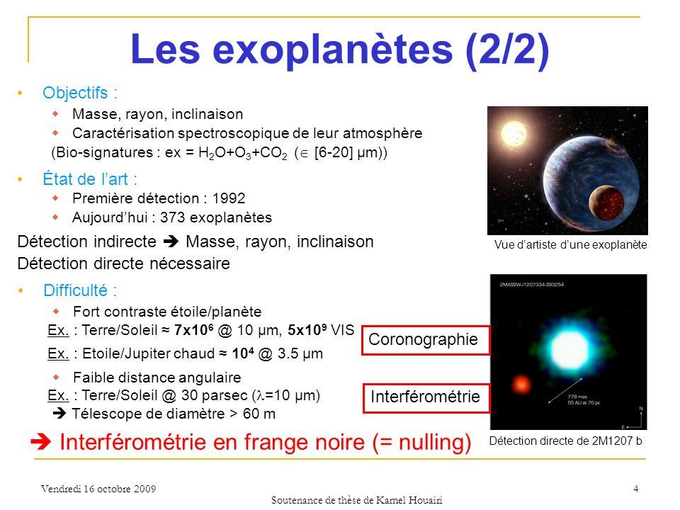 Vendredi 16 octobre 2009 Difficulté : Fort contraste étoile/planète Ex. : Terre/Soleil 7x10 6 @ 10 µm, 5x10 9 VIS Ex. : Etoile/Jupiter chaud 10 4 @ 3.