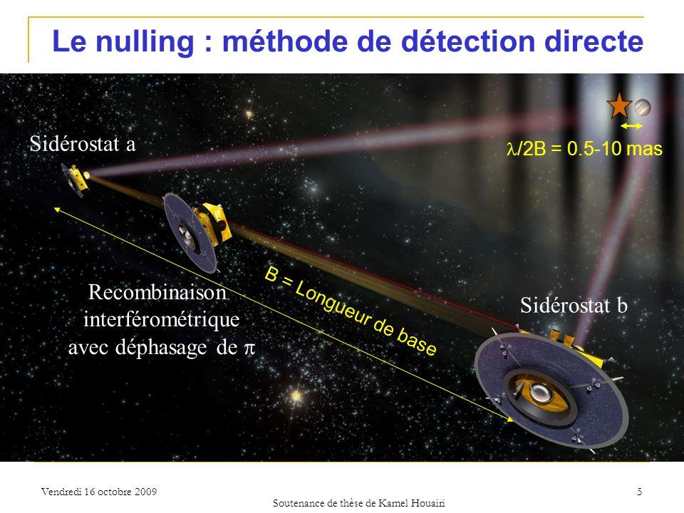 Vendredi 16 octobre 2009 Le nulling : méthode de détection directe B = Longueur de base /2B = 0.5-10 mas Recombinaison interférométrique avec déphasag