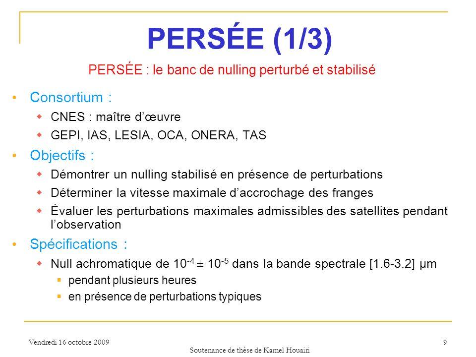 Vendredi 16 octobre 2009 PERSÉE (1/3) Consortium : CNES : maître dœuvre GEPI, IAS, LESIA, OCA, ONERA, TAS Objectifs : Démontrer un nulling stabilisé e