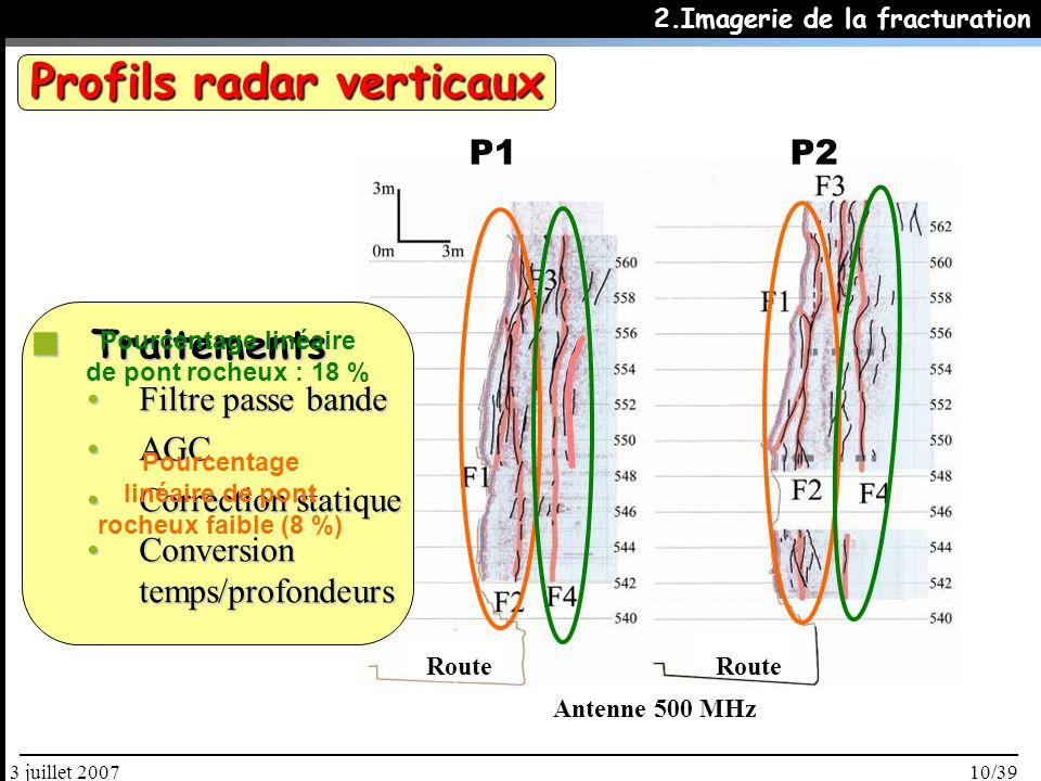 10/393 juillet 2007 Antenne 500 MHz Traitements Traitements Filtre passe bandeFiltre passe bande AGCAGC Correction statiqueCorrection statique Conversion temps/profondeursConversion temps/profondeurs P1P2 2.Imagerie de la fracturation Pourcentage linéaire de pont rocheux faible (8 %) Pourcentage linéaire de pont rocheux : 18 % Profils radar verticaux Route