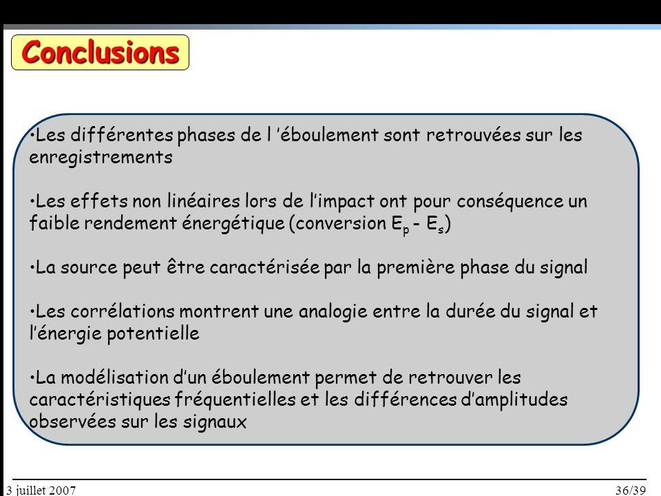 36/393 juillet 2007 Conclusions Les différentes phases de l éboulement sont retrouvées sur les enregistrements Les effets non linéaires lors de limpact ont pour conséquence un faible rendement énergétique (conversion E p - E s ) La source peut être caractérisée par la première phase du signal Les corrélations montrent une analogie entre la durée du signal et lénergie potentielle La modélisation dun éboulement permet de retrouver les caractéristiques fréquentielles et les différences damplitudes observées sur les signaux