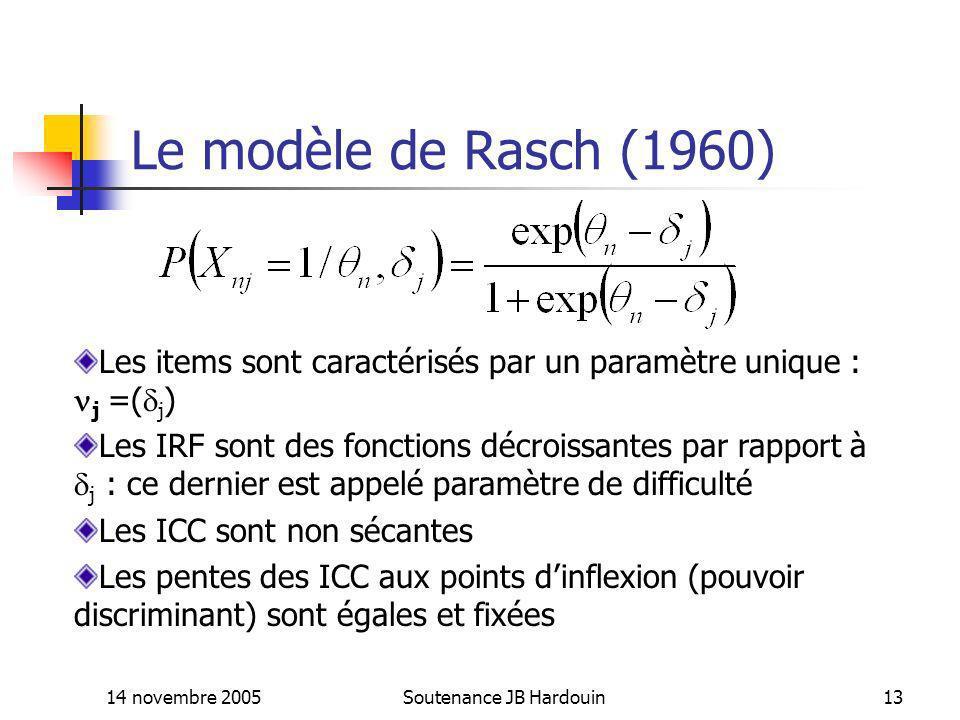 14 novembre 2005Soutenance JB Hardouin13 Le modèle de Rasch (1960) Les items sont caractérisés par un paramètre unique : j =( j ) Les IRF sont des fon