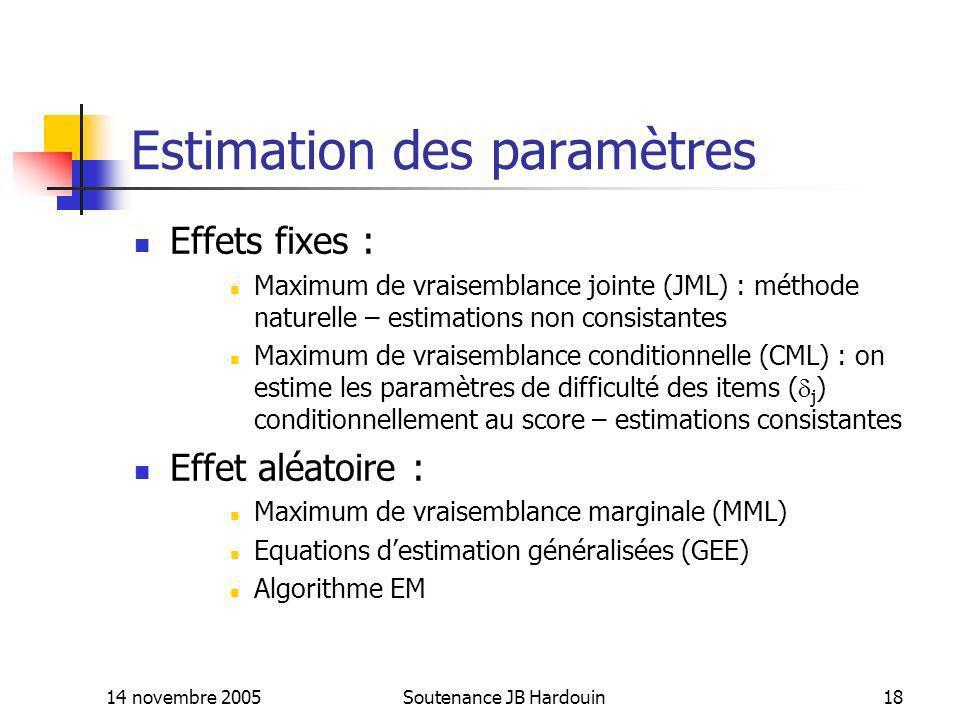 14 novembre 2005Soutenance JB Hardouin18 Estimation des paramètres Effets fixes : Maximum de vraisemblance jointe (JML) : méthode naturelle – estimati