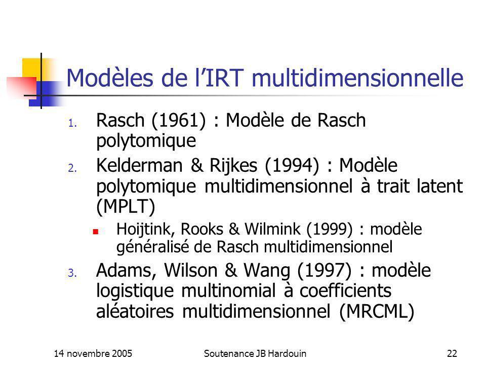 14 novembre 2005Soutenance JB Hardouin22 Modèles de lIRT multidimensionnelle 1. Rasch (1961) : Modèle de Rasch polytomique 2. Kelderman & Rijkes (1994