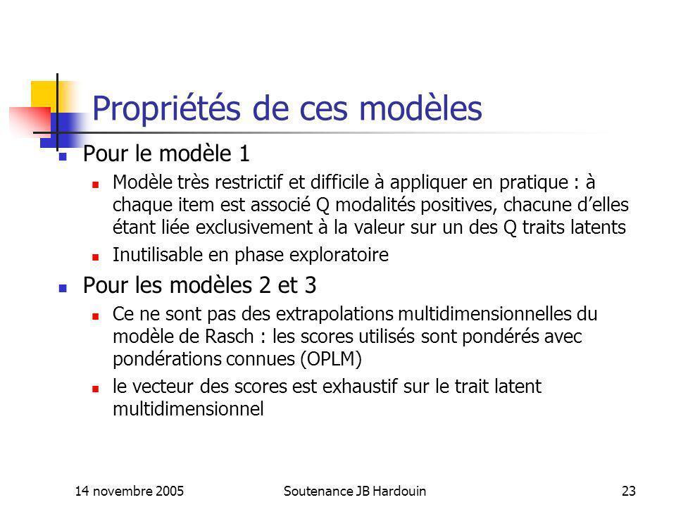 14 novembre 2005Soutenance JB Hardouin23 Propriétés de ces modèles Pour le modèle 1 Modèle très restrictif et difficile à appliquer en pratique : à ch