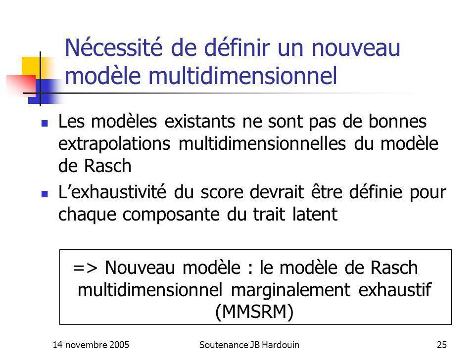 14 novembre 2005Soutenance JB Hardouin25 Nécessité de définir un nouveau modèle multidimensionnel Les modèles existants ne sont pas de bonnes extrapol