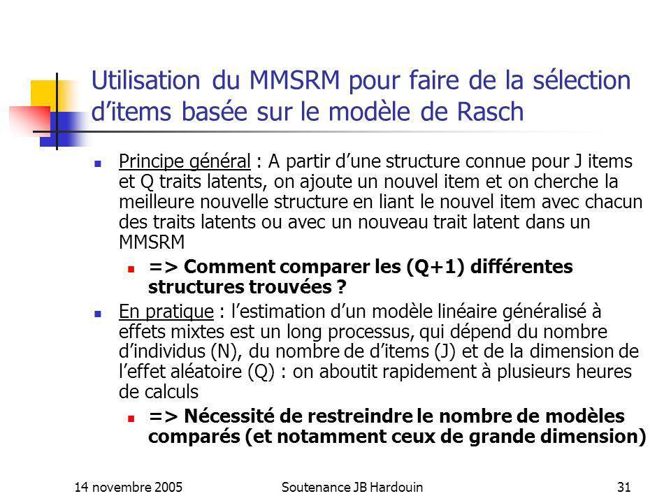 14 novembre 2005Soutenance JB Hardouin31 Utilisation du MMSRM pour faire de la sélection ditems basée sur le modèle de Rasch Principe général : A part