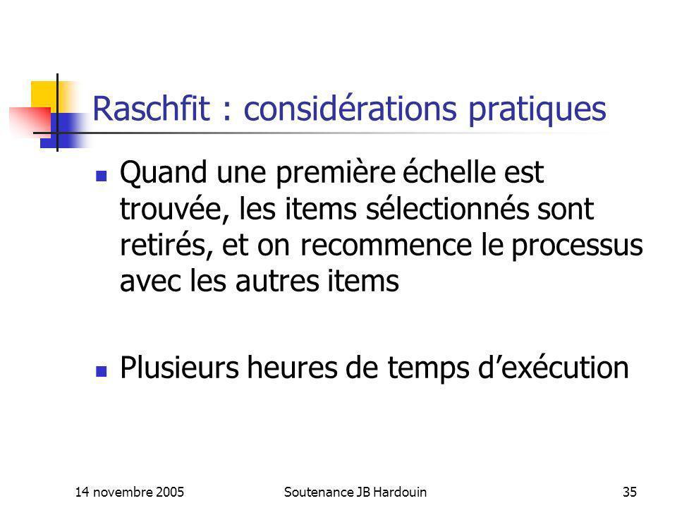 14 novembre 2005Soutenance JB Hardouin35 Raschfit : considérations pratiques Quand une première échelle est trouvée, les items sélectionnés sont retir