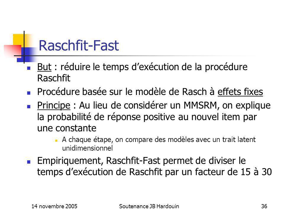 14 novembre 2005Soutenance JB Hardouin36 Raschfit-Fast But : réduire le temps dexécution de la procédure Raschfit Procédure basée sur le modèle de Ras
