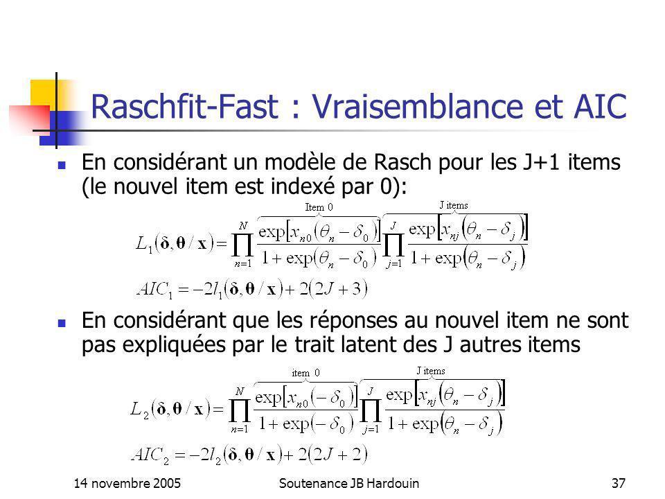 14 novembre 2005Soutenance JB Hardouin37 Raschfit-Fast : Vraisemblance et AIC En considérant un modèle de Rasch pour les J+1 items (le nouvel item est