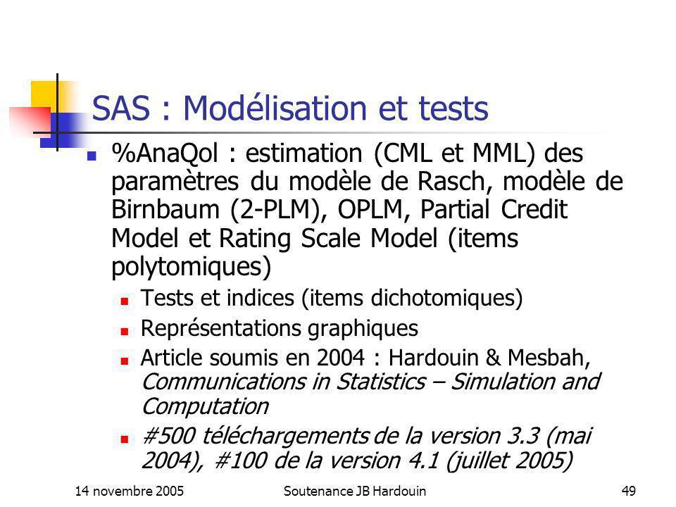 14 novembre 2005Soutenance JB Hardouin49 SAS : Modélisation et tests %AnaQol : estimation (CML et MML) des paramètres du modèle de Rasch, modèle de Bi
