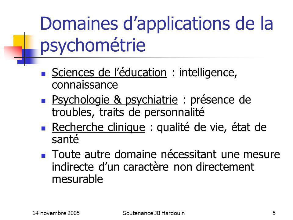 14 novembre 2005Soutenance JB Hardouin5 Domaines dapplications de la psychométrie Sciences de léducation : intelligence, connaissance Psychologie & ps