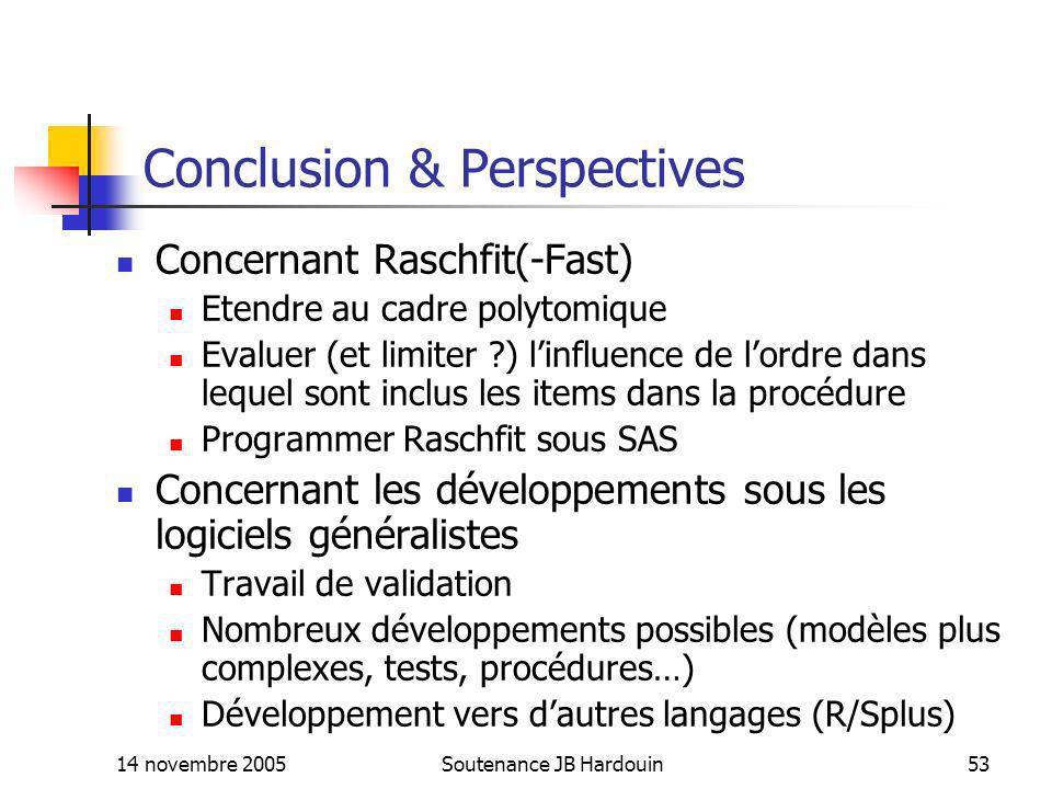 14 novembre 2005Soutenance JB Hardouin53 Conclusion & Perspectives Concernant Raschfit(-Fast) Etendre au cadre polytomique Evaluer (et limiter ?) linf