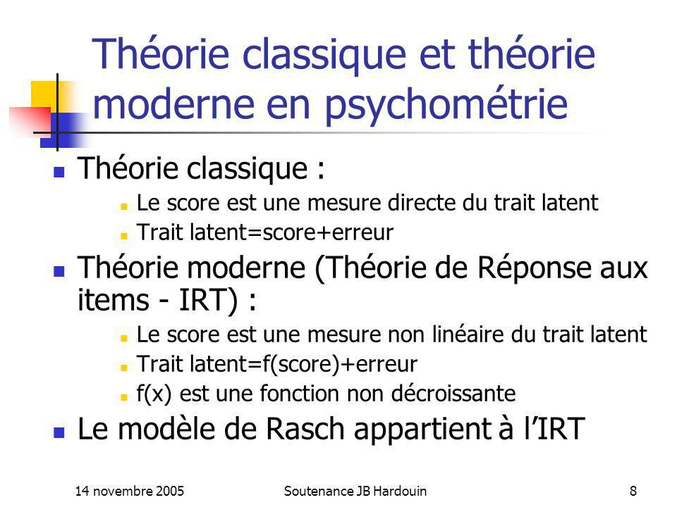 14 novembre 2005Soutenance JB Hardouin19 Difficulté dadéquation du modèle de Rasch Modèle peu souple, pentes des ICC fixées Difficulté pour ajuster ce modèle à un ensemble ditems Modèle souvent rejeté pour un ensemble ditems Pourtant modèle très intéressant en psychométrie (« perfect scale ») =>Plusieurs auteurs (Ficher and Molenaar, 1995; Bond et Fox, 2004) préconisent de trouver, pour mesurer un trait latent donné, un ensemble ditems vérifiant un modèle de Rasch, quitte à éliminer certains items, plutôt que dutiliser des modèles plus souples qui posent des problèmes destimation, de fiabilité et dinterprétation, et qui ne justifient pas, en pratique, lusage du score non pondéré