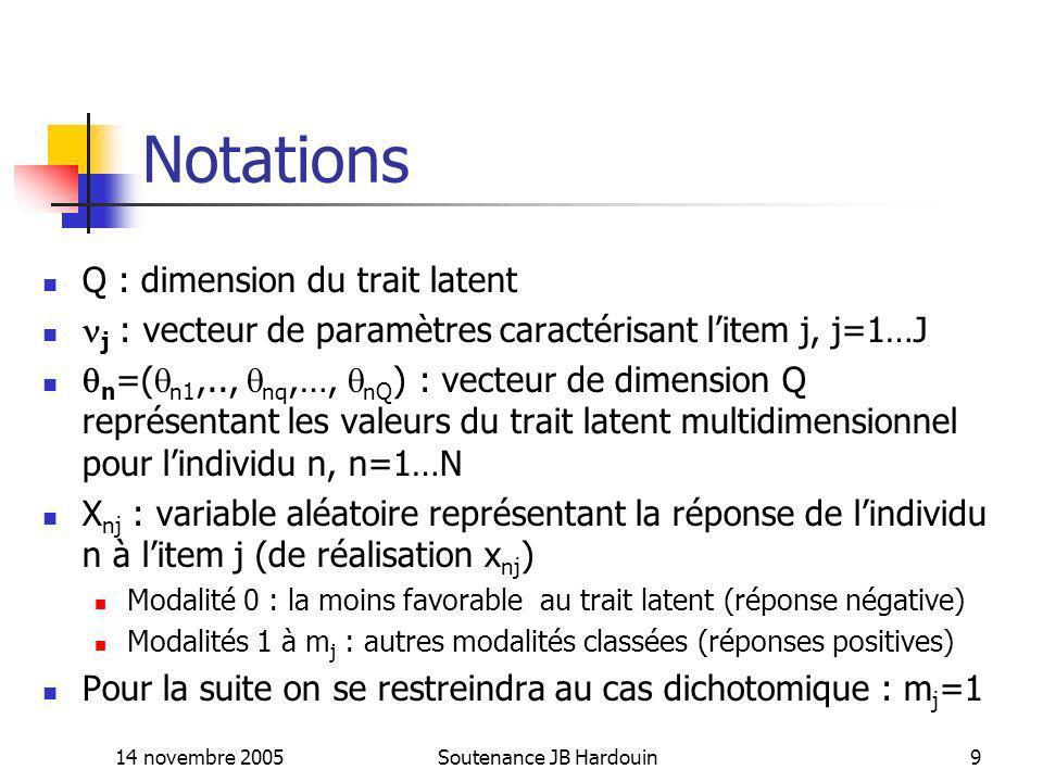 14 novembre 2005Soutenance JB Hardouin10 IRT: Hypothèses fondamentales Unidimensionnalité : les réponses aux items dépendent dun trait latent unidimensionnel (Q=1, le trait latent est un scalaire) Monotonicité : la probabilité P(X nj =1/ n, j ) est une fonction non décroissante sur le trait latent Indépendance locale : les variables réponses aux items sont indépendantes conditionnellement au trait latent