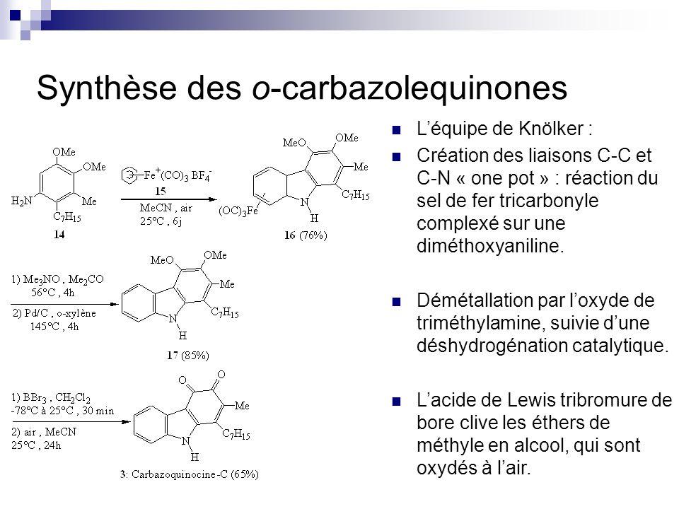 Synthèse des o-carbazolequinones Léquipe de Knölker : Création des liaisons C-C et C-N « one pot » : réaction du sel de fer tricarbonyle complexé sur