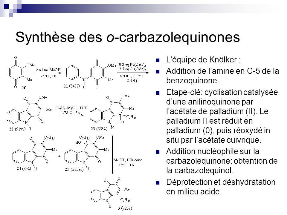 Synthèse des o-carbazolequinones Léquipe de Knölker : Addition de lamine en C-5 de la benzoquinone. Etape-clé: cyclisation catalysée dune anilinoquino