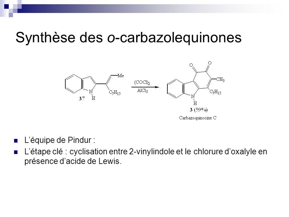 Synthèse des o-carbazolequinones Léquipe de Pindur : Létape clé : cyclisation entre 2-vinylindole et le chlorure doxalyle en présence dacide de Lewis.