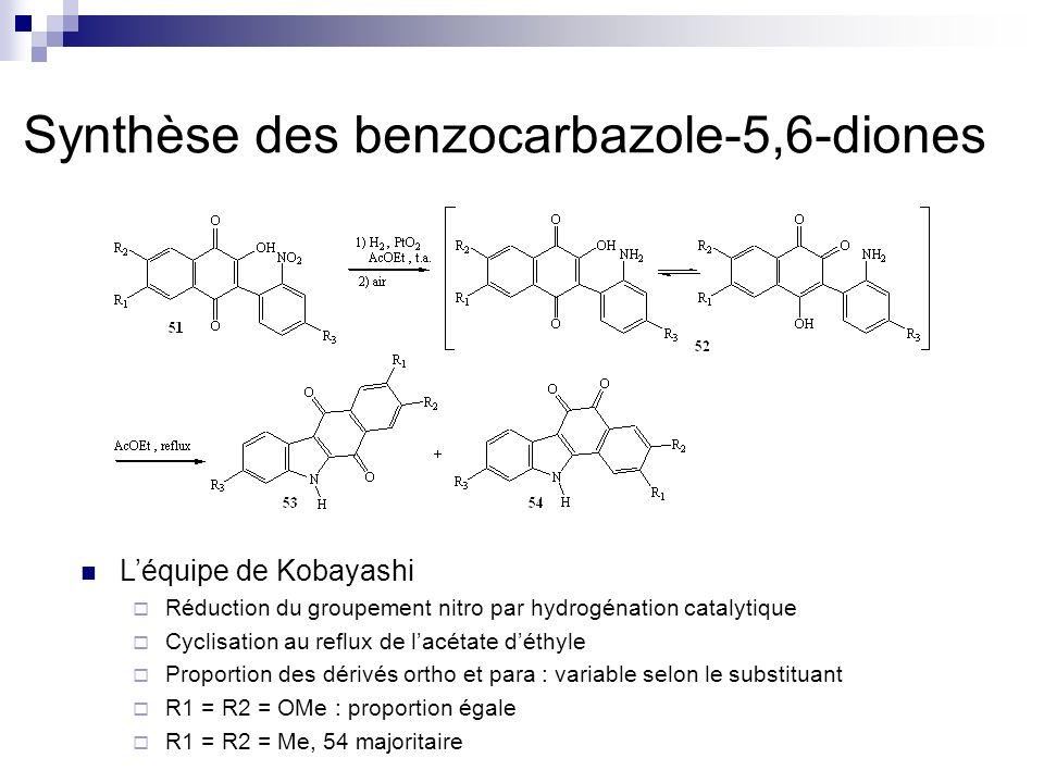 Synthèse des benzocarbazole-5,6-diones Léquipe de Kobayashi Réduction du groupement nitro par hydrogénation catalytique Cyclisation au reflux de lacét