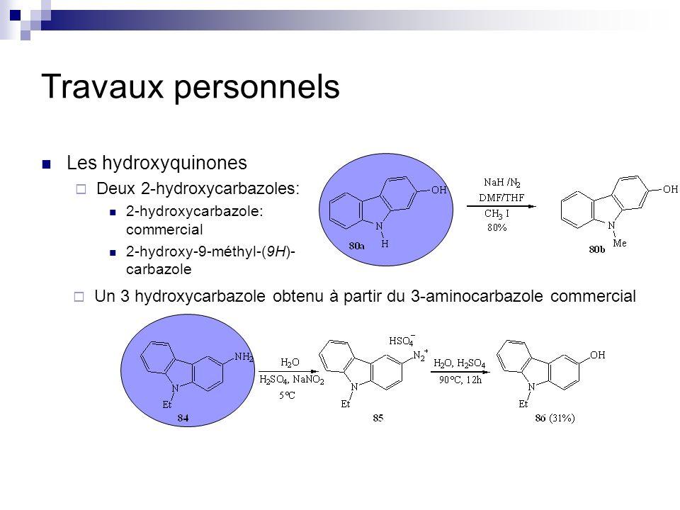 Travaux personnels Les hydroxyquinones Deux 2-hydroxycarbazoles: 2-hydroxycarbazole: commercial 2-hydroxy-9-méthyl-(9H)- carbazole Un 3 hydroxycarbazo
