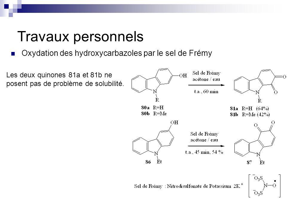 Travaux personnels Oxydation des hydroxycarbazoles par le sel de Frémy Les deux quinones 81a et 81b ne posent pas de problème de solubilité.