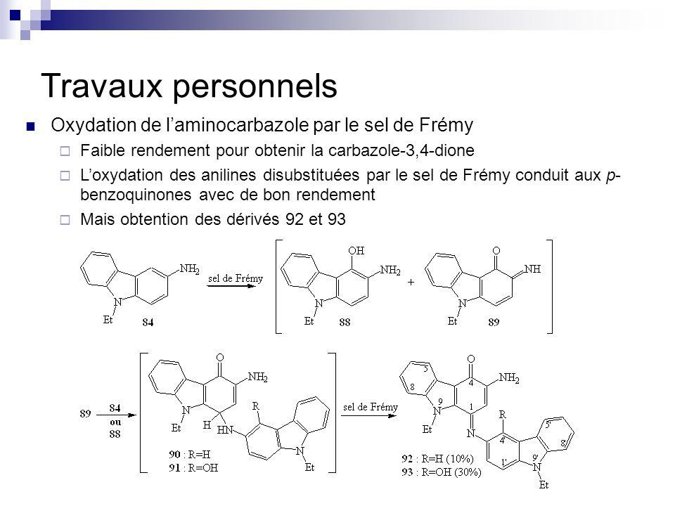 Travaux personnels Oxydation de laminocarbazole par le sel de Frémy Faible rendement pour obtenir la carbazole-3,4-dione Loxydation des anilines disub