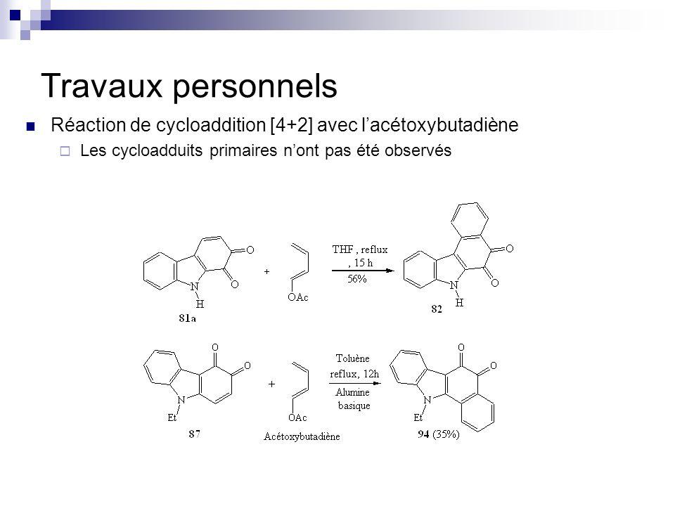 Travaux personnels Réaction de cycloaddition [4+2] avec lacétoxybutadiène Les cycloadduits primaires nont pas été observés