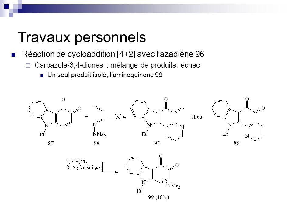 Travaux personnels Réaction de cycloaddition [4+2] avec lazadiène 96 Carbazole-3,4-diones : mélange de produits: échec Un seul produit isolé, laminoqu