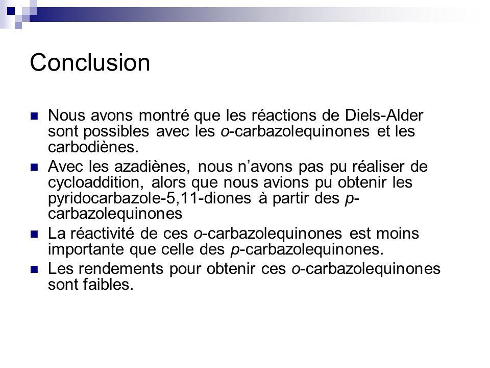 Conclusion Nous avons montré que les réactions de Diels-Alder sont possibles avec les o-carbazolequinones et les carbodiènes. Avec les azadiènes, nous