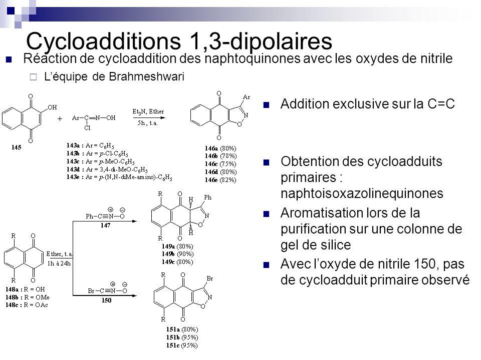 Cycloadditions 1,3-dipolaires Réaction de cycloaddition des naphtoquinones avec les oxydes de nitrile Léquipe de Brahmeshwari Addition exclusive sur l