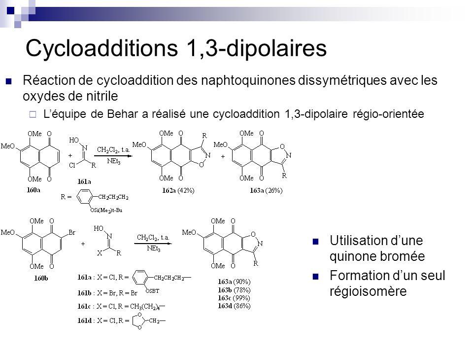Cycloadditions 1,3-dipolaires Réaction de cycloaddition des naphtoquinones dissymétriques avec les oxydes de nitrile Léquipe de Behar a réalisé une cy