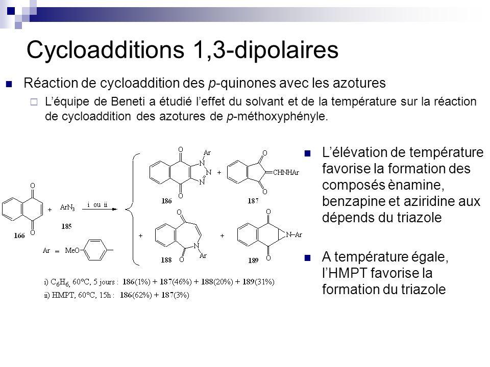 Cycloadditions 1,3-dipolaires Réaction de cycloaddition des p-quinones avec les azotures Léquipe de Beneti a étudié leffet du solvant et de la tempéra