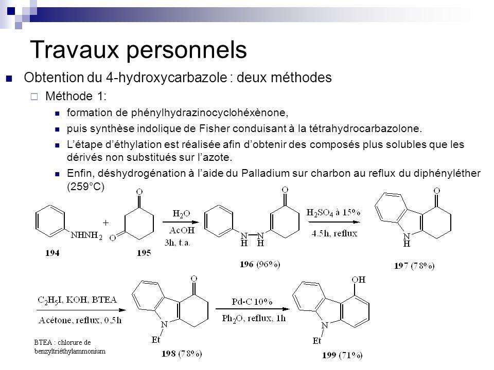 Travaux personnels Obtention du 4-hydroxycarbazole : deux méthodes Méthode 1: formation de phénylhydrazinocyclohéxènone, puis synthèse indolique de Fi