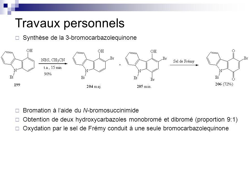 Travaux personnels Synthèse de la 3-bromocarbazolequinone Bromation à laide du N-bromosuccinimide Obtention de deux hydroxycarbazoles monobromé et dib