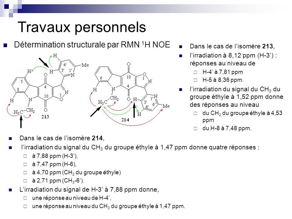 Travaux personnels Détermination structurale par RMN 1 H NOE Dans le cas de lisomère 213, lirradiation à 8,12 ppm (H-3) : réponses au niveau de H-4 à