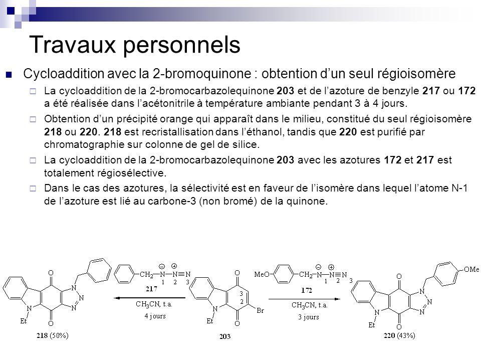 Travaux personnels Cycloaddition avec la 2-bromoquinone : obtention dun seul régioisomère La cycloaddition de la 2-bromocarbazolequinone 203 et de laz