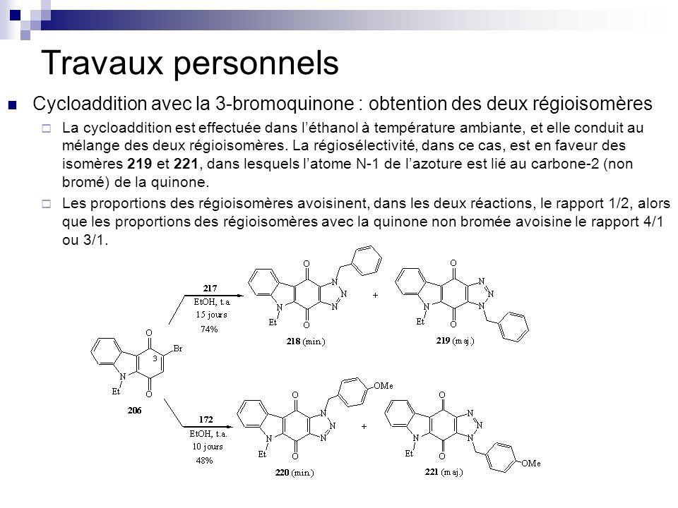 Travaux personnels Cycloaddition avec la 3-bromoquinone : obtention des deux régioisomères La cycloaddition est effectuée dans léthanol à température