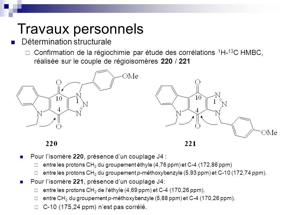 Travaux personnels Détermination structurale Confirmation de la régiochimie par étude des corrélations 1 H- 13 C HMBC, réalisée sur le couple de régio