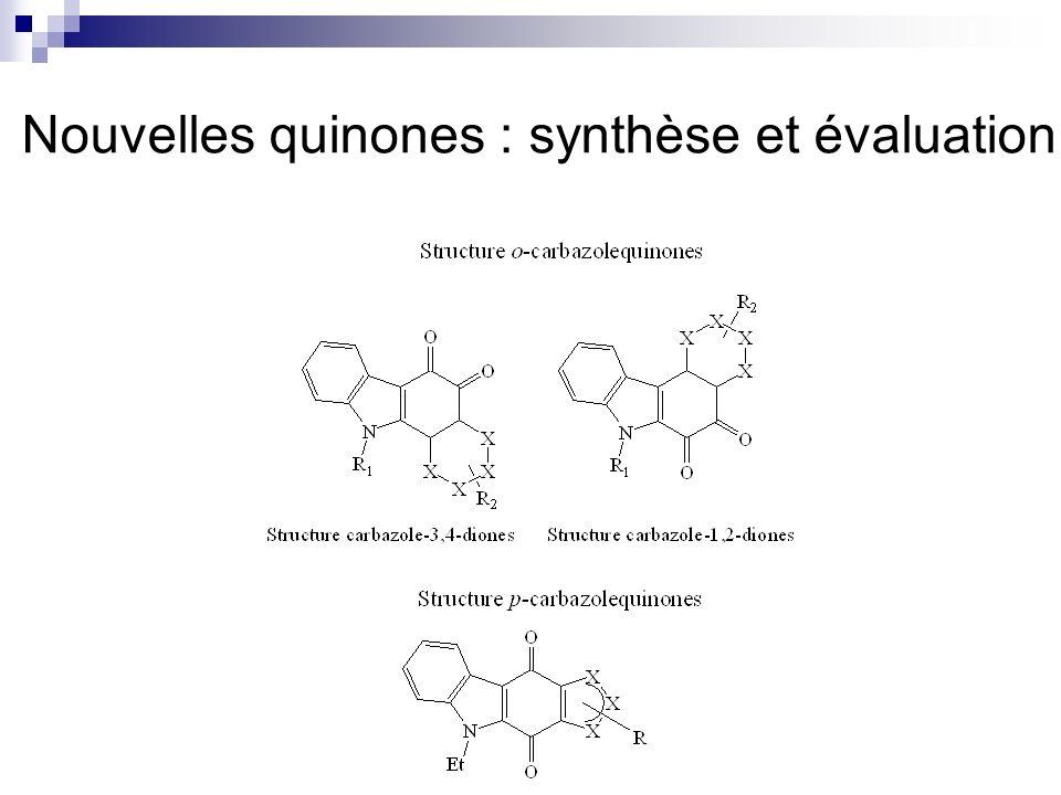 Cycloadditions 1,3-dipolaires Concernant les cycloadditions avec les oxydes de nitrile: Formation à partir doxime Cycloaddition sur C=C ou C=O selon la nature de loxyde de nitrile et la quinone Sur les p-quinones dissymétriques: problème de régiosélectivité, possibilité dorienter la régiosélectivité avec les p-quinones bromées Concernant les cycloadditions avec les azotures Formation de triazoline et selon les conditions de température et solvant: Obtention du triazole, ou bien formation dènamine, daminoquinone, daziridine, de benzopyrine Les températures élevées nuisent à la formation du triazole Les solvants type HMPT favorisent la formation de triazole La polarité du solvant ne semble pas influencer la formation de triazole, ou dènamine,…